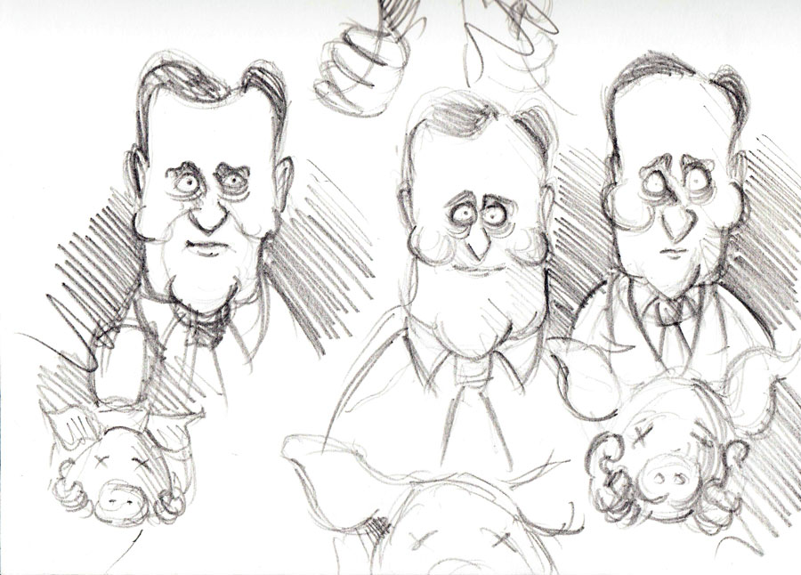 Initial charicature sketches