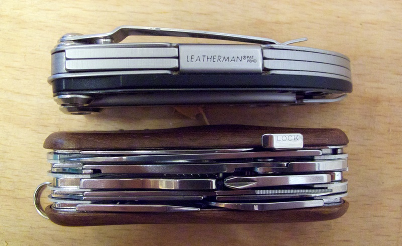 Leatherman and Wenger, side-by-side