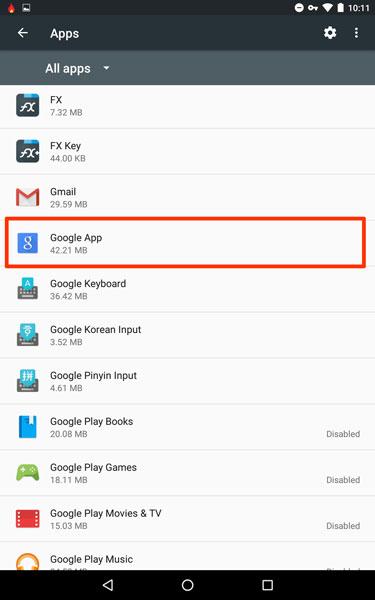 Tap on Google App