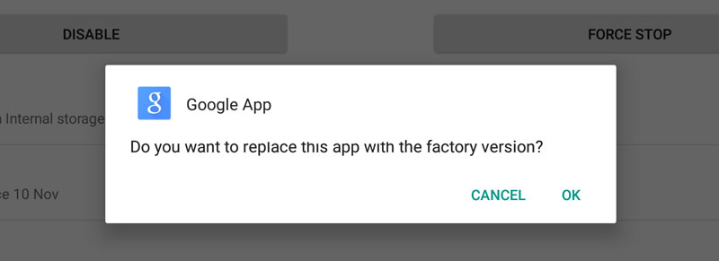 Tap on Disable