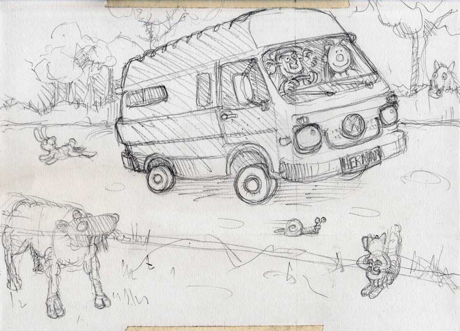 Not-quite-initial pencil sketch