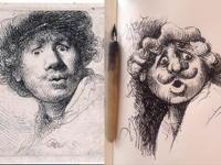 15th August 2018 - Rembrandt self-portrait etching 1630