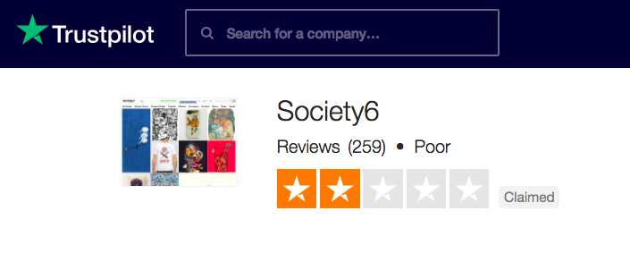 Society6 rated 'Poor' on TrustPilot