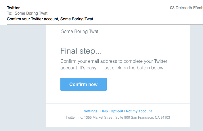 Just need to click that confirmation link now and we're done.