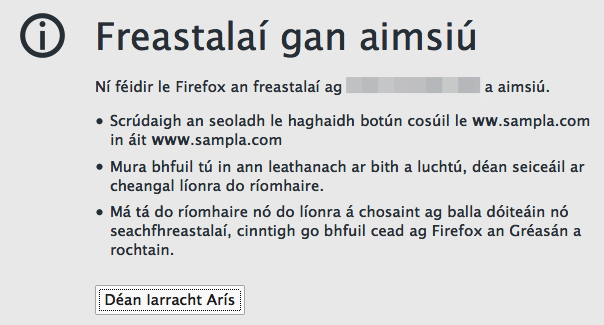 For the 'Hard-of-Gaelic', Firefox is saying 'no such website'